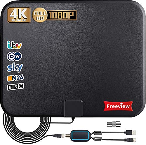 TV Aerial, Indoor TV Aerial 250+ Miles Digital HDTV Freeview with Amplified Signal Booster,4K 1080P HD VHF UHF - Support All TV's 17 ft Coax Cable (Black)
