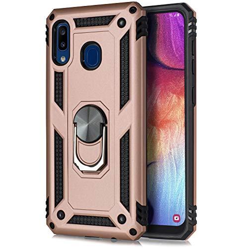 Schutzhülle für Samsung A20/A30, militärtauglich, um 360 Grad drehbarer Metallring, Ständer, magnetisch, Kfz-Halterung, stoßfest, für Samsung A20/Samsung 30, rose
