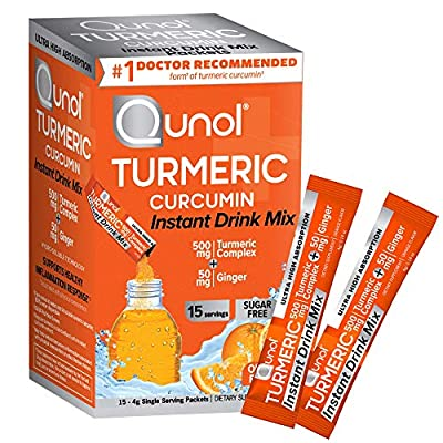 Qunol Turmeric Curcumin Instant Drink Mix, Packets, Orange, Ultra Absorption, 500mg Turmeric + 50mg Ginger, Supports Healthy Inflammation Response and Joint Health, Dietary Supplement, 15 Servings from AmazonUs/QUTEN