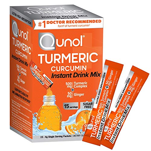 Qunol Turmeric Curcumin Instant Drink Mix, Packets, Orange, Ultra Absorption, 500mg Turmeric + 50mg Ginger, Supports Healthy Inflammation Response and Joint Health, Dietary Supplement, 15 Servings