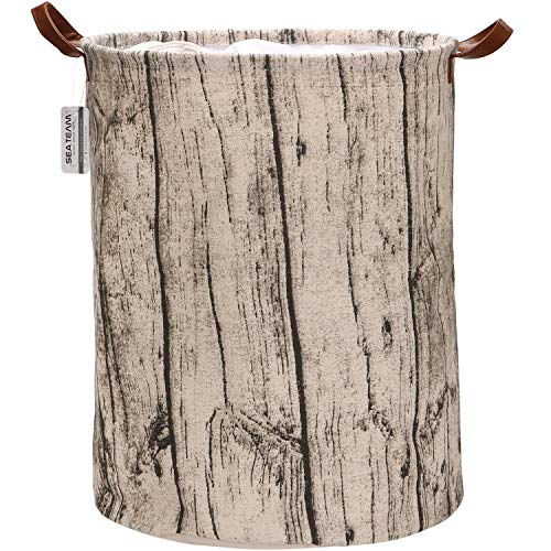 Sea Team Large Size Tree Stump Design Canvas Fabric Laundry Hamper Collapsible Storage Basket with PU Leather Handles and Drawstring Cover for Kid's Room, 19.7 by 15.7 inches, Waterproof Inner