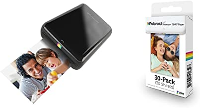 Polaroid ZIP Mobile Printer (Black) with Polaroid ZINK Photo Paper TRIPLE PACK (30 Sheets)