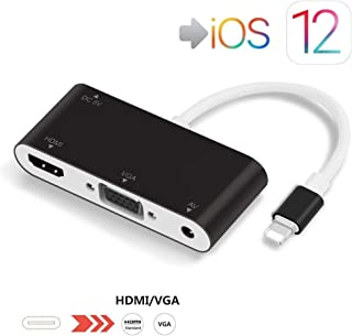 Lighting to HDMI VGA Adapter, SZYCD 3 in 1 Lighting Digital AV Adapter 1080P Plug and Play with Charging Port for Phone X/8/8Plus/7/7Plus/6/6s/6s Plus/5/5s Pad Pod