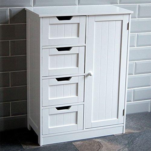Bath Vida Bathroom Cupboard 4 Drawer 1 Door Floor Standing Cabinet Unit Storage Wood, White