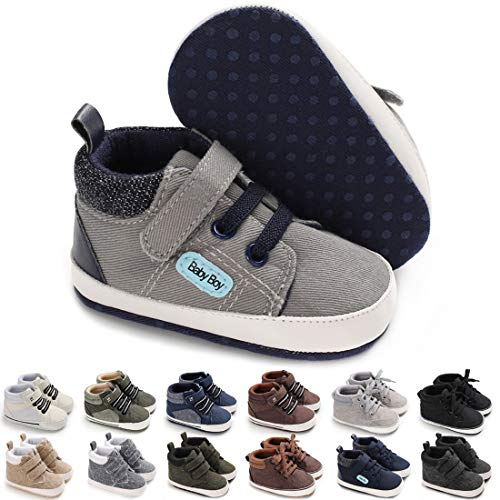 BENHERO Baby Boys Girls Shoes Infant Canvas Sneakers Soft Sole 100% Leather Anti-Slip Sole Hook and Loop Newborn Infant First Walkers Crib Shoes(13cm,12-18 Months Toddler, A/Dark Grey)