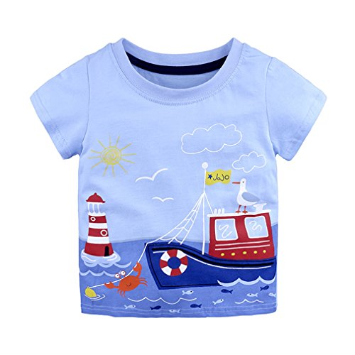 Junkai Sommer Kinder Kurzarm Print T-Shirt Alter 18-24M 2-6 Jahre Alt Baby Kinder Tops Mädchen Jungen Shirts