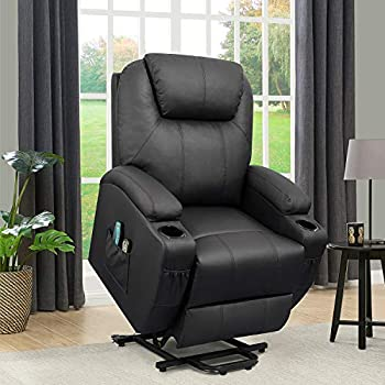 Flamaker Power Lift Recliner Chair PU Leather for Elderly with Massage and Heating Ergonomic Lounge Chair for Living Room Classic Single Sofa with 2 Cup Holders Side Pockets Home Theater Seat  Black