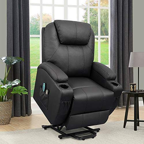 Flamaker Power Lift Recliner Chair PU Leather for Elderly with Massage and Heating Ergonomic Lounge Chair for Living Room Classic...