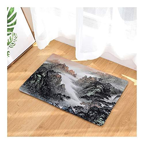 XingXiang Rechteckige Ink-Landschaftsmalerei Bodenmatte Badezimmer-saugfähige rutschfeste Matte Wohnzimmer Can Wash Teppich für geeignetes Wohn- und Schlafzimmer (Color : D2890-1, Size : 50 * 80CM)