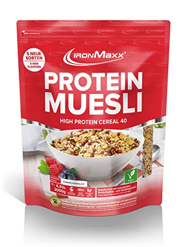 IronMaxx Protein Müsli Cookies & Chocolate / Veganes Fitness Müsli laktosefrei / Eiweiß Müsli mit Cookies & Cream Geschmack / 1 x 2000 g