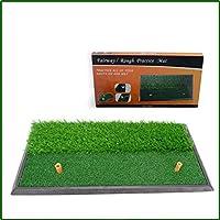 ゴルフマット屋内スイング練習マット、ゴルフ肥厚ゴルフマットミニ打撃グラスマット、黄色のダブルラインマット、トレーニングローンマット