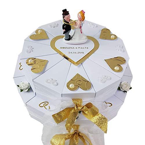 Schachteltorte in Weiß-Gold, 2stöckig, Geldgeschenk, Hochzeit, Goldene Hochzeit