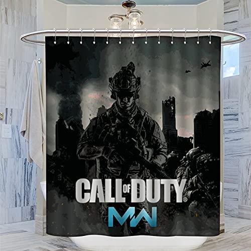 COD Modern Warfare - Set di tende da doccia, 183 x 183 cm, resistenti e lavabili con 12 ganci in plastica