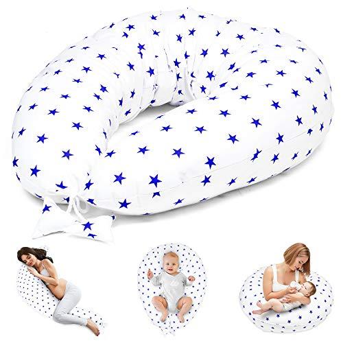 Stillkissen Schwangerschaftskissen zum Schlafen Seitenschläferkissen - Lagerungskissen für Baby XXL Pregnancy Pillow Oeko-Tex (Weiß mit dunkelblau Sternen)
