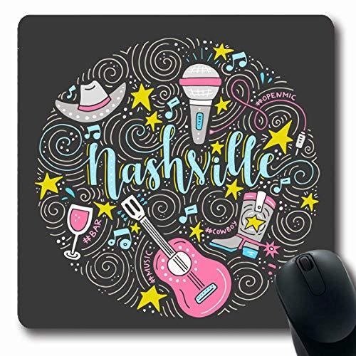 Mousepad Oblong Buntes Gitarrenkreis-Design Open Nashville Amerikanische Stadt Country Musik Wein Akustikband Konzert Rutschfestes Gummi Mauspad Büro Computer Laptop Spielmatte