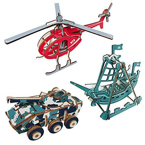 EQLEF 3D Puzzle Legno, Puzzle in Legno Giocattoli Fai da Te Set Regalo Elicottero Pirate Ship Tank Modello Woodcraft Construction Kit - 3 Pezzi