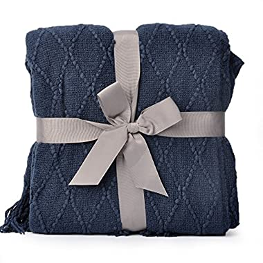 battilo Knit Diamond Pattern Decorative Throw Blanket, 50  W by 60  L, Navy