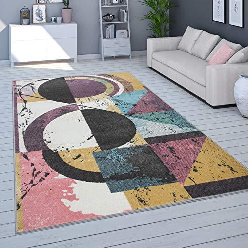 Alfombra Salón Pelo Corto Moderno En Colores Pastel, Distintos Colores Y Tamaños, tamaño:70x140 cm, Color:Multicolor 4