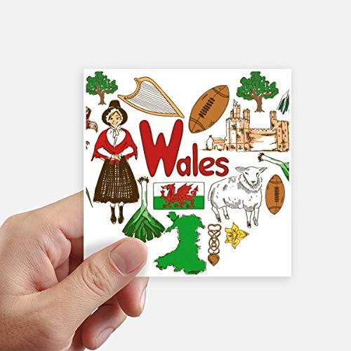 DIYthinker Wales Love Heart Uk Landscap National Flag Square Stickers 10Cm Wall Suitcase Laptop Motobike Decal 8Pcs