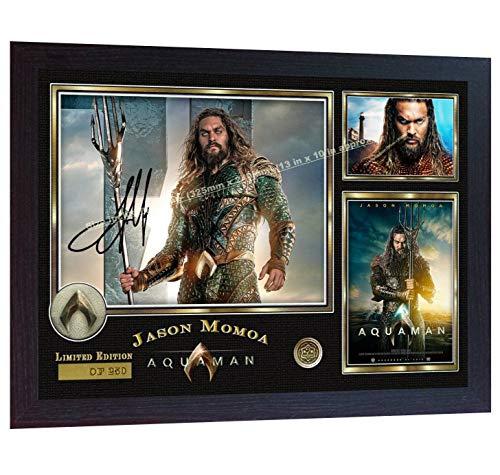 SGH SERVICES Póster Enmarcado de la película Jason Momoa Aquaman Firmado con autógrafo de la película de Jason Momoa Aquaman
