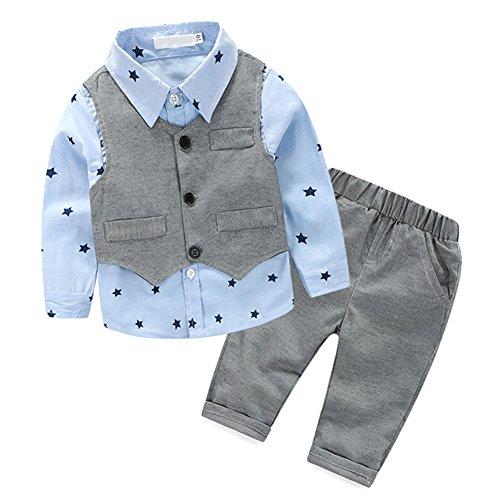 BOBORA Bambini Ragazzi 3 Pezzi di Abbigliamento Set Polka DOT Camicetta Camicia + Gilet Panciotto + Pantaloni Lunghi
