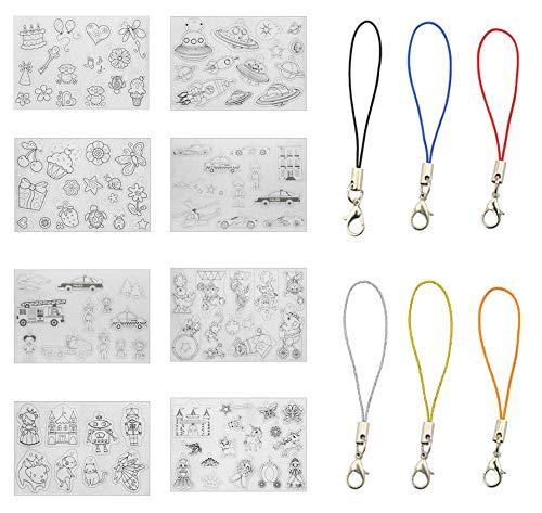 GLOBALDREAM Schrumpffolie, 8 Stücke Schrumpfkunstpapier mit Mustern Schrumpfen Papier mit 30 Stücke Karabinerverschluss für Kinder Craft