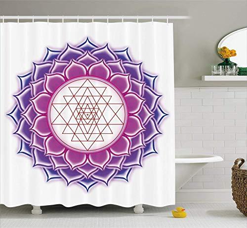 Loto Tenda da doccia Geometria sacra Yantra Mandala con figure triangolari Illustrazione di yoga Tessuto antico in tessuto Arredo bagno con ganci Fucsia Viola