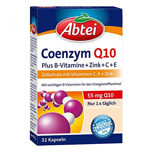 Abtei Coenzym Q10 Plus B-Vitamine+Zink+C+E Kapseln, 32 St. Kapseln
