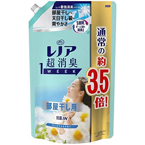 レノア 超消臭1WEEK 柔軟剤 部屋干し 詰め替え 大容量 1390mL(約3.5倍) 花とおひさまの香り