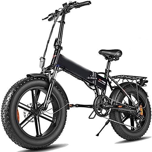 CDPC Bicicleta eléctrica, Bicicleta eléctrica Plegable, Bicicleta de montaña para Adultos con batería de Litio 48v12.5a, Palanca de Cambios de 7 velocidades, Cargador de batería rápido, Bicicleta