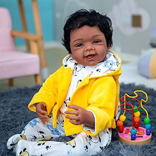 Zero Pam Biracial Reborn Baby Dolls Black Boys Smile Real Baby 22 inch African American Newborn Baby Dolls Vinyl Silicone Boys Gifts for Kids
