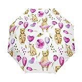 SUHETI Regenschirm Taschenschirm,Nahtlose Muster Aquarell Bären, die Luft halten,Auf Zu Automatik,windsicher,stabil