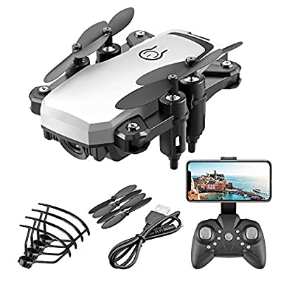 LF606 Drone RC Quadcopter GPS WiFi FPV Drone with Camera Live Video 4K HD Camera Selfi Drone Foldable Arms Altitude Hold Gesture Control RC Quadcopter Drone for Kids Adults (Silver)