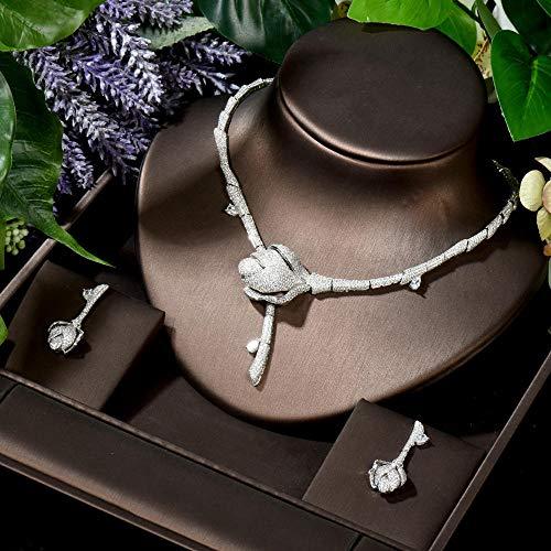FWJSDPZ Juego de joyas de Dubai con circonita cúbica clásica para novia (color: blanco).