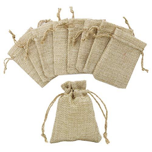 Shintop Jutesäckchen Klein, 20 Stück Jutebeutel Geschenksäckchen mit Kordel für Hochzeit, Weihnachten, Partys, Adventskalender (7cm x 9cm)