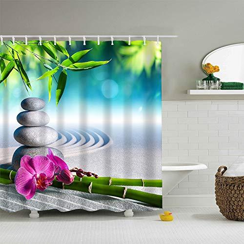 Duschvorhang, Waschbares 100prozent Polyester, Wasserdichtes Beständig mit Plastikhaken, Antiform-Form-Freie Bad-Gardinen, 180 x 200 cm Langer, Bambus Stein Orchidee