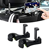 Car Hooks for Purses and Bags, 2 in 1 Car Back Seat Headrest Hooks with Phone Holder, Car Hook Hanger for Purse Grocery Bag Kids School Bag, Falling Resistance, Sturdiness and Universal (Black 2Pack)
