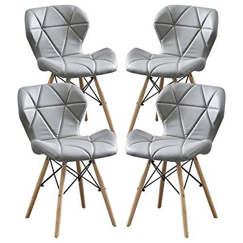 MIFI 4er Set Esszimmerstühle Esszimmerstuhl aus Massivem Naturholz, Stuhl Moderner Stuhl mit PU-Kissen Rundes Holzbein Moderner Stuhl für Wohnzimmer, Küche, Balkon Esszimmerstuhl (Grau)