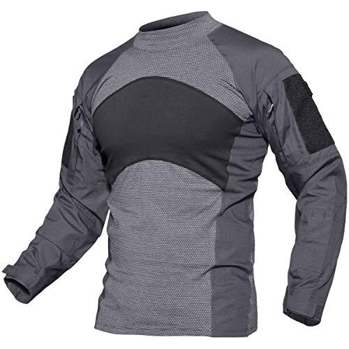 TACVASEN Tactical Military Quick Dry Shirt Military Duty Uniform Hunting T-Shirt Grey, XL