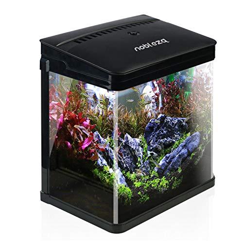 Nobleza – Acuario de Cristal con Cubierta y Luces LED. Sistema de Filtro de 14 litros. Color Blanco