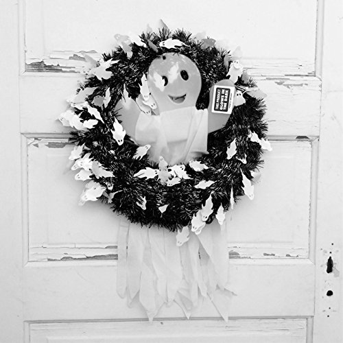 Monochrome Wreath with Glow in the Dark Ghost