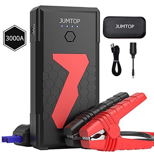 JUMTOP Avviatore Auto Portatile,3000A Picco 22000mAh (10L gas / motore diesel 8L) Booster batteria Power Starter Jump Starter con doppia porta di ricarica Smart USB e torcia a LED
