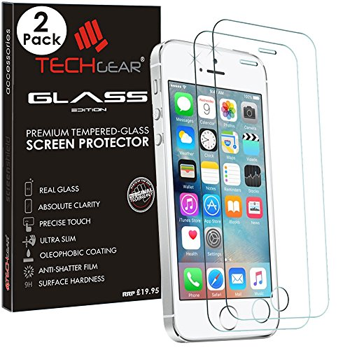 TECHGEAR [2 Pezzi Vetro Temperato Compatibile con iPhone SE / 5s / 5c / 5 - Autentica Pellicola Protecttiva in Vetro Temperato Salvaschermo per Apple iPhone SE / 5s / 5c / 5