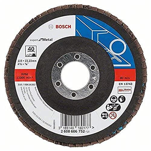 Bosch Professional Fächerschleifscheibe (für Winkelschleifer verschiedene Materialien, Ø 115 mm, Körnung 40)