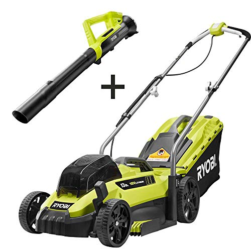 RYOBI P1140S-4X 13 in. ONE+ 18-Volt Lithium-Ion Cordless Battery Walk Behind Push Lawn Mower & Leaf Blower- 4.0 Ah Battery/Charger