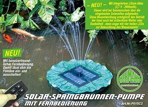 Solarinsel Schwimmende Solarfontäne mit Akku, Beleuchtung und Fernbedienung Video ansehen !