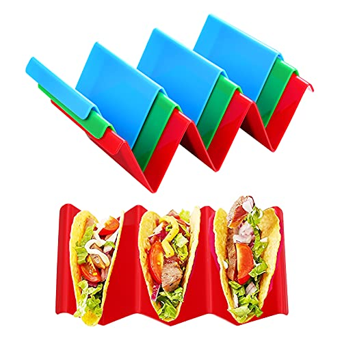 Vethwal 3 Pieces Colorful Taco Holders, Taco Holder Stand with Handle Can Hold 2 or 3 Tacos Each,...