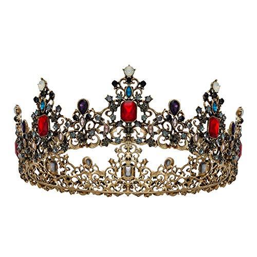 SWEETV Corona de reina barroca Jeweled – Tiaras de boda y coronas...