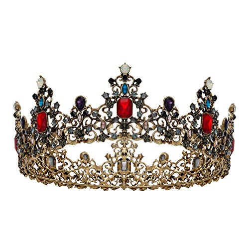SWEETV Corona de reina barroca Jeweled – Tiaras de boda y coronas para mujer, traje negro de fiesta accesorios para el pelo con rubí