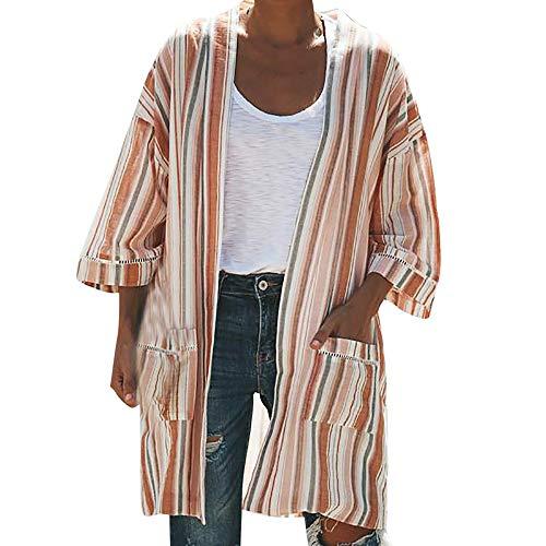 Alikeey Damesjas, met strepen, print, lange mouwen, verfijnd zakgebreid, gebreid jasje, kimono, tops, herfst wintercoat